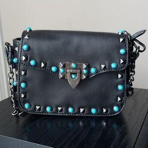 Lulu's Rockstud Purse Black with turquoise studs
